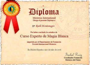 Formación de Ruth Montenegro Diploma de Magia Blanca