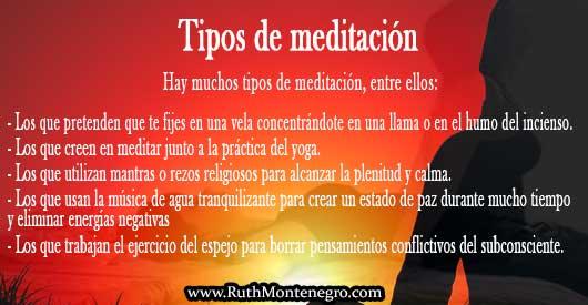 Tipos meditacion Ruth Montenegro